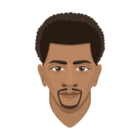 Ilustración de Young afro man avatar character male face portrait cartoon person vector illustration. Adult design human people attractive casual guy user. - Imagen libre de derechos