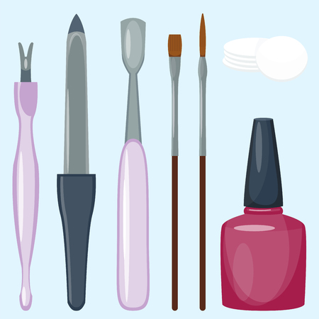Illustration pour Manicure foot and hand care fingers instruments vector fashion personal cosmetics equipment - image libre de droit