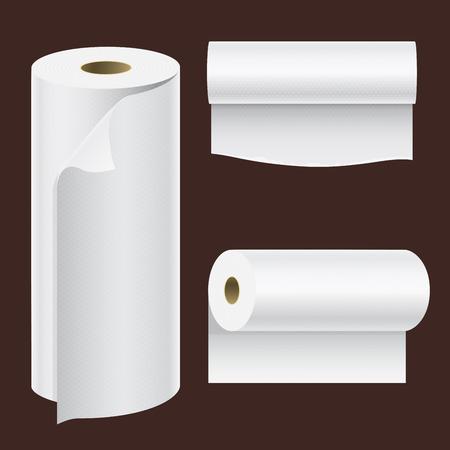 Illustration pour Realistic paper roll mock up set isolated vector illustration. - image libre de droit