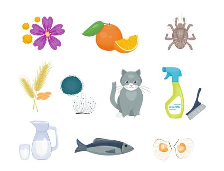 Illustration for Allergy symbols disease healthcare food viruses and health flat illness allergen symptoms disease information illustration. - Royalty Free Image