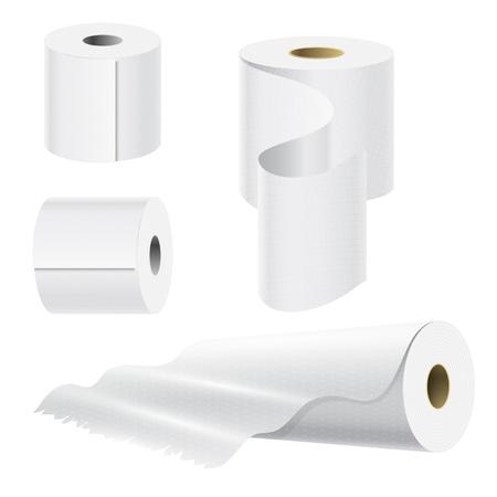Illustration pour Realistic paper roll mock up set. - image libre de droit
