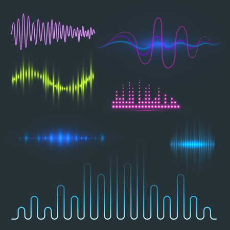 Illustration pour Digital music equalizer audio waves design. - image libre de droit