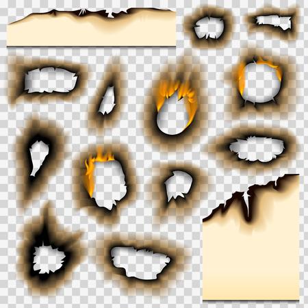 Ilustración de Burned paper realistic fire flame isolated page sheet torn ash vector illustration - Imagen libre de derechos