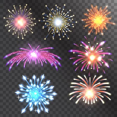 Illustration for Firework vector illustration holiday event explosion light festive party - Royalty Free Image