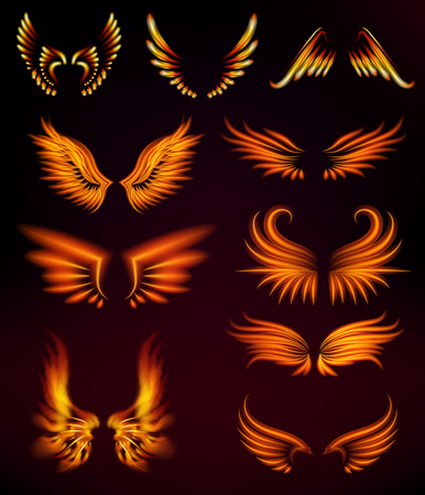 Illustration pour Flame bird fire wings fantasy feather burning blaze fly blazing danger flare glow fiery burn hot art vector illustration on black. Heat phoenix fantasy fire feather. - image libre de droit