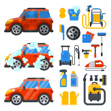 Ilustración de Car washing service clean tools transport automobile cleaner care auto design work wash station vector illustration - Imagen libre de derechos