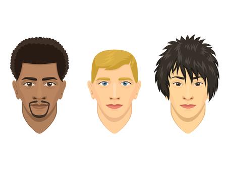 Ilustración de Young men avatar characters. - Imagen libre de derechos