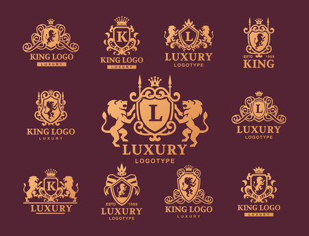 Ilustración de Luxury boutique Royal Crest high quality vintage product, heraldry collection, brand identity illustration with decorative quality wreath line. - Imagen libre de derechos