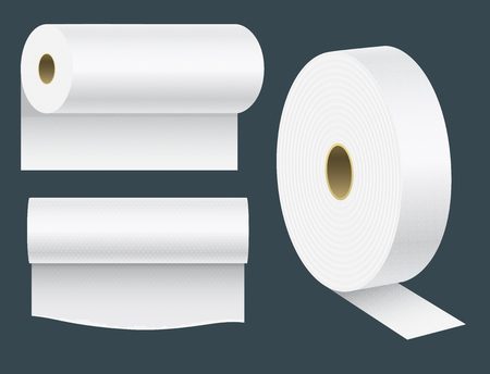 Ilustración de Realistic paper roll mock up set isolated illustration blank white 3d packaging kitchen towel, toilet paper roll. - Imagen libre de derechos