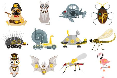 Illustration pour Stylized metal steampunk mechanic robots animals machine steam gear insect punk art machinery vector illustration. Metallic technology vintage toy mechanism. - image libre de droit