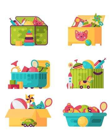 Ilustración de Full kid toys in boxes for kids play childhood babyroom container vector illustration - Imagen libre de derechos