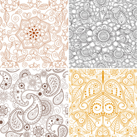 Illustration pour Floral mehendi pattern ornament vector illustration. Hand drawn henna Asian textile style. Ethnic ornamental lace vintage mandala abstract textile. - image libre de droit