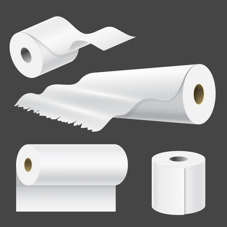 Illustration pour Realistic paper roll mock up set isolated. vector illustration of blank white 3d packaging kitchen towel template. - image libre de droit