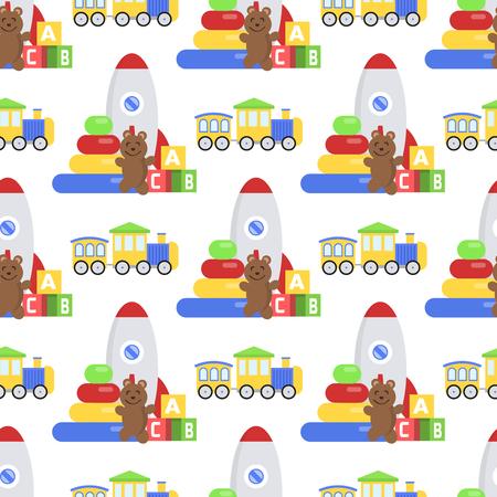 Ilustración de A Seamless pattern background full of kid toys Cartoon cute graphic baby room vector illustration - Imagen libre de derechos