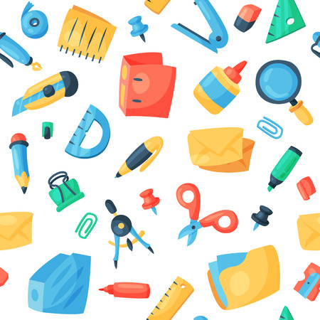 Illustration pour Stationery icons office supply vectorschool tools and accessories set education assortment pencil marker pen isolated on white background seamless pattern background. - image libre de droit