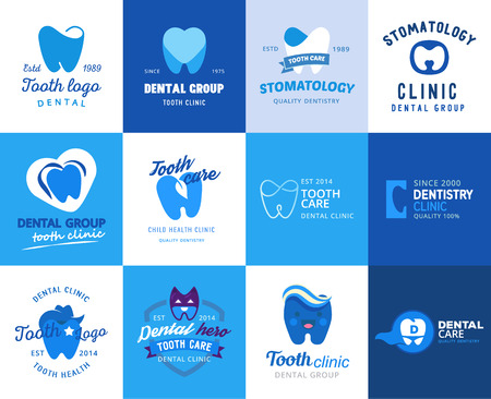 Illustration pour Dental tooth logo vector dentist clinic logotype toothcare icon stomatology dentistry care design set illustration isolated on white background - image libre de droit