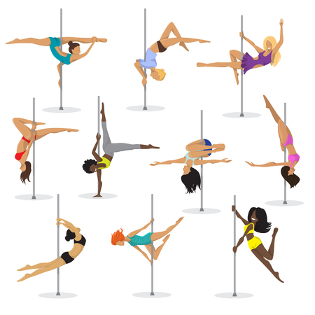 Ilustración de Pole dance girl vector set woman pole dance dancer fitness pose stripper posing and dancing illustration isolated on white background. - Imagen libre de derechos