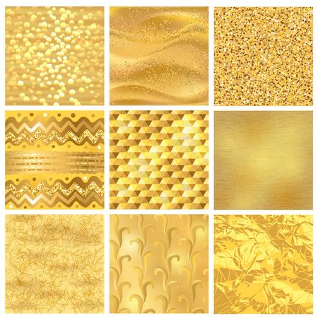 Ilustración de Golden background or gold texture vector pattern for luxury textured wallpaper with textural goldleaf backdrop yellow set - Imagen libre de derechos