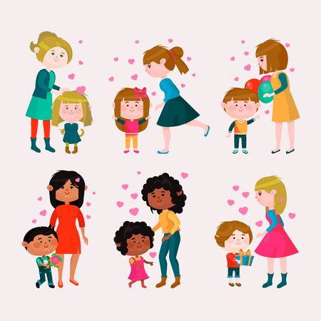 Illustrazione per Valentines day vector loving family mothers day mom and kids valentine lovely heart girl or boy kissing and hugging child with gift flowers and balloons illustration isolated on white background - Immagini Royalty Free