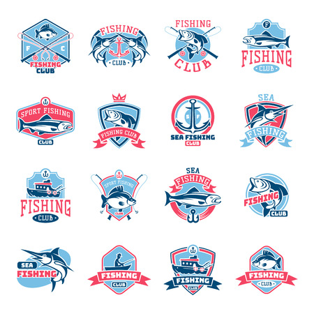 Ilustración de Fishing logo vector fishery logotype with fisherman in boat and emblem with fished fish for fishingclub illustration set isolated on white background - Imagen libre de derechos