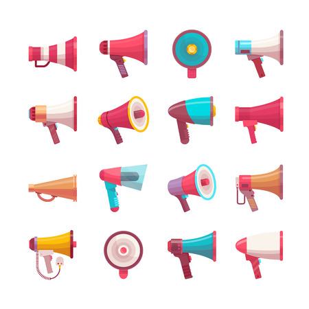 Illustration pour Vector mega-phone voice volume speaker control megaphone flat voice speaking illustration different model mega size and volume - image libre de droit