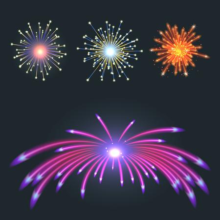 Illustration for Fireworks vector illustration on black background. - Royalty Free Image