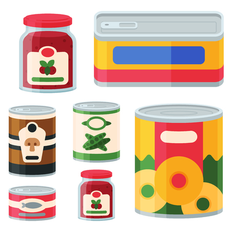 Illustration pour Collection of various tins canned goods food metal and glass container vector illustration. - image libre de droit