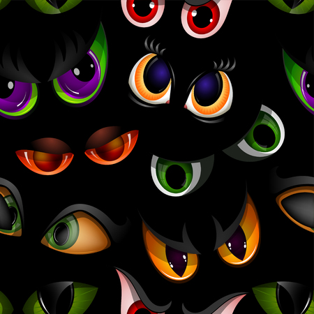 Illustration pour Cartoon vector eyes beast devil monster animals eyeballs of angry or scary expressions evil eyebrow and eyelashes on face scared snake or dracula vampire animal eyesight seamless pattern background. - image libre de droit
