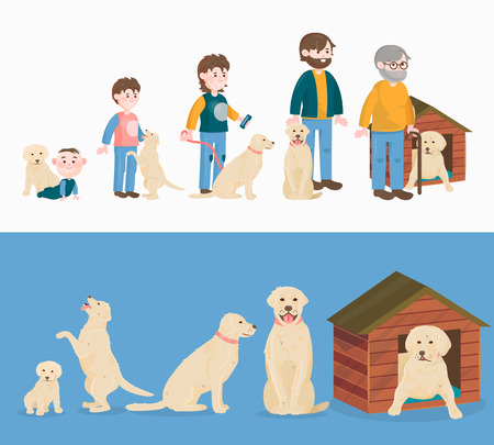 Ilustración de Child growth vector and  dog growing, aging concept from baby or puppy. - Imagen libre de derechos