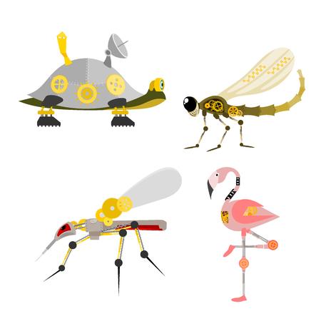 Illustration pour Stylized metal steampunk insect vector illustration set - image libre de droit