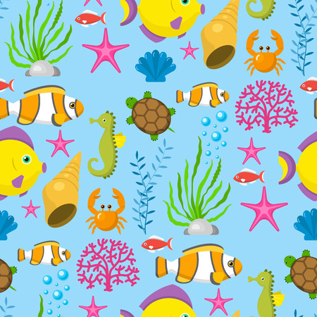 Ilustración de Aquatic funny sea animals underwater creatures cartoon characters shell aquarium sealife seamless pattern background vector illustration. - Imagen libre de derechos