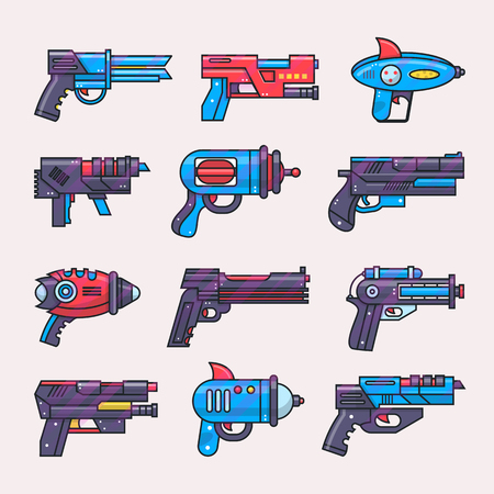 Illustration for Cartoon gun vector toy blaster for kids game with futuristic handgun and raygun of aliens in space illustration set of child pistols and laser weapon isolated on white background - Royalty Free Image