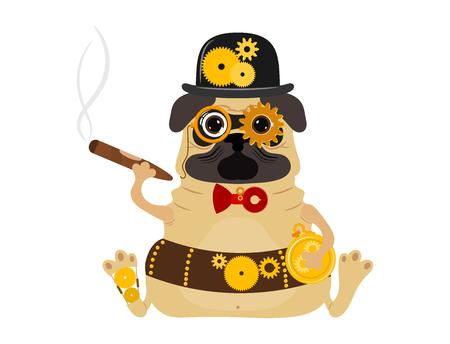 Illustration pour Stylized metal steampunk mechanic robot dog - image libre de droit