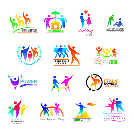 Illustration for Abstract people icon vector person sign on logo of teamwork in business company or fitness logotype with sportsman winner and silhouette of lovely family illustration set isolated on white background - Royalty Free Image