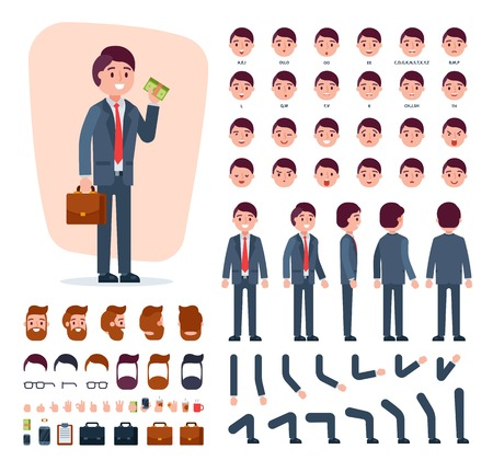 Illustration pour Businessman hairstyle head and face emotions illustration set of mans body with hands legs isolated on white background - image libre de droit