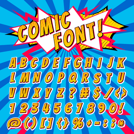 Illustration pour Comic font vector cartoon alphabet letters in pop art style and alphabetic text icons for typography illustration alphabetically typeset of abc and numbers on popart background - image libre de droit