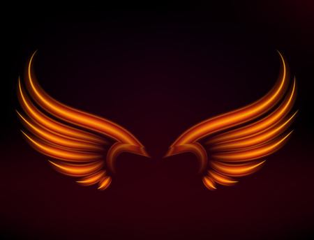 Illustration pour Flame bird fire wings fantasy feather burning blaze fly blazing danger flare glow fiery wings burn hot art vector illustration on black. Heat phoenix fantasy fire feather. - image libre de droit