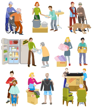 Illustration pour Charity vector volunteer people caring elderly disabled or blind characters and volunteering donation or welfare illustration set voluntary social community isolated on white background - image libre de droit