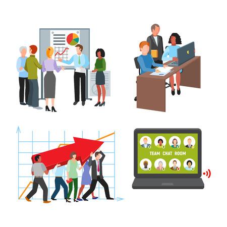 Ilustración de Team work people management business concept symbols flat colorful design characters vector illustration elements - Imagen libre de derechos