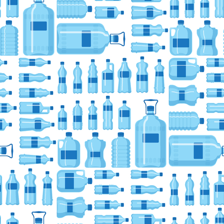 Ilustración de Plastic water bottle vector blank nature blue seamless pattern background clean liquid aqua fluid blank template silhouette template illustration. - Imagen libre de derechos