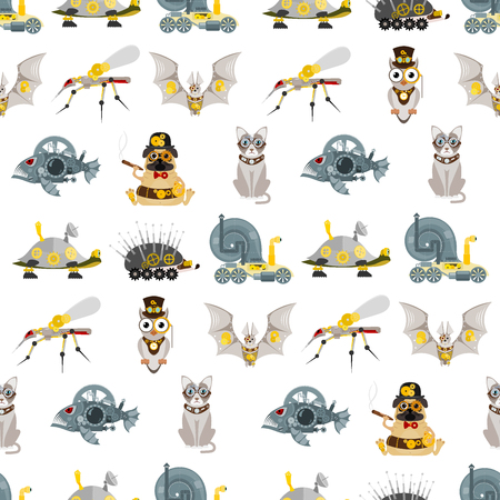 Illustration pour Stylized metal steampunk mechanic robots animals machine steam gear insect punk art machinery seamless pattern background vector illustration. - image libre de droit