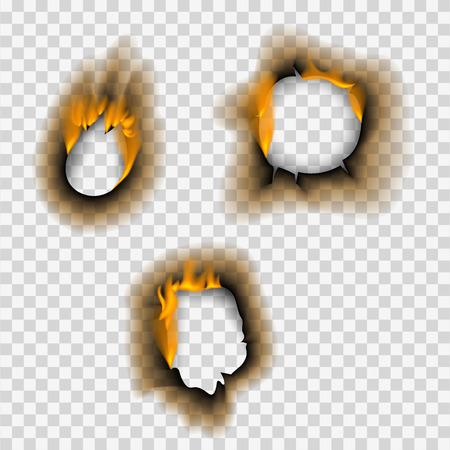 Ilustración de Burnt piece burned faded paper hole realistic fire flame isolated page sheet torn ash vector illustration - Imagen libre de derechos