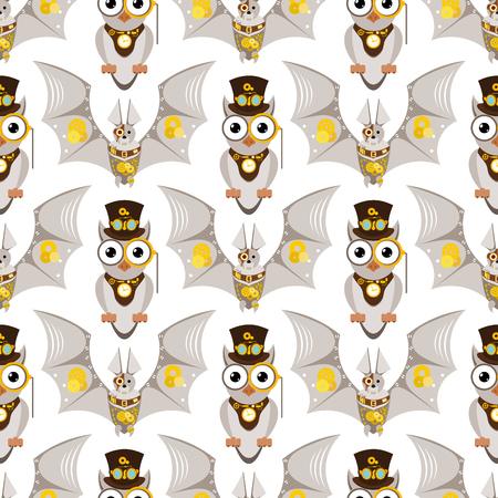 Illustration pour Stylized metal steampunk mechanic robots animals machine steam gear insect punk art machinery seamless pattern background vector illustration. - image libre de droit