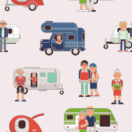 Foto für Senior travel vector elderly family couple travelling on camping trailer and retired character on a vacation motor caravan illustration set of grandparents on a car seamless pattern background - Lizenzfreies Bild