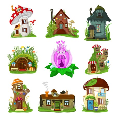 Illustration for Fantasy house vector cartoon fairy treehouse and magic housing village illustration set of kids fairytale playhouse for gnome or elf isolated on white background - Royalty Free Image
