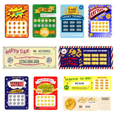 Photo pour Lottery ticket vector lucky bingo card win chance lotto game jackpot set illustration lottery gaming tickets isolated on white background - image libre de droit