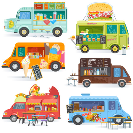 Illustrazione per Food truck vector street food-truck vehicle and fastfood delivery transport with hotdog or pizza illustration set of drinks or ice cream in foodtruck isolated on white background. - Immagini Royalty Free