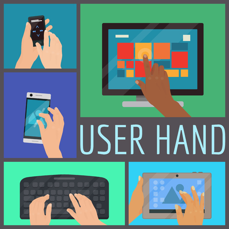 Illustration pour User hand seamless pattern vector illustration. Human hands holding various smart devices such as computer, laptop, phone, music player, keyboard, tablet. Finger touching screen and buttons. - image libre de droit