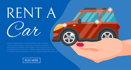 Illustration pour Buying or renting new or used red car banner vector illustration. Car in buyer hand. Rent a car. Modern flat style selling transport flyer. Buying auto rental dealer hand. Travel vehicle service concept. - image libre de droit
