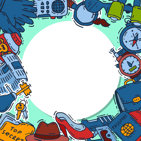 Ilustración de Private detective spy work gadgets magnifier forensic evidence secret documents poster vector illustration. Spying privacy information detective equipment. Professional surveillance work. - Imagen libre de derechos